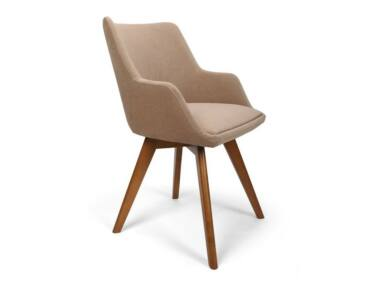 Alberta bézs karfás szék pácolt X típusú lábbal