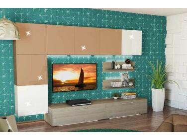 BOX nappali összeállítás L300 magasfényű cappuccino/fehér 6.
