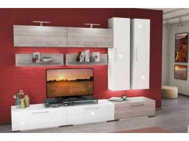 BOX nappali összeállítás L300 magasfényű fehér/olasz tölgy 4.