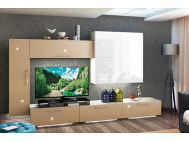 BOX nappali összeállítás L340 magasfényű fehér/cappuccino 12