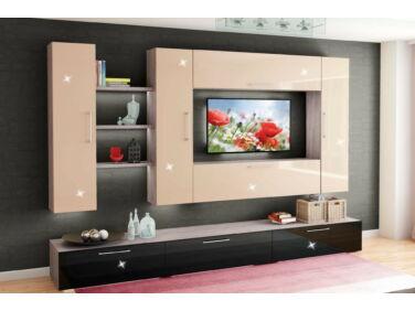 BOX nappali összeállítás L340 magasfényű krém/fekete 14.