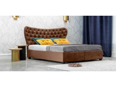 Damasc Chester kárpitozott ágy barna 160x200