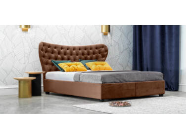 Damasc Chester ágyneműtartós ágy barna 160x200