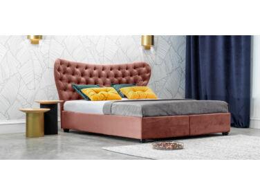 Damasc Chester kárpitozott ágy púder 160x200