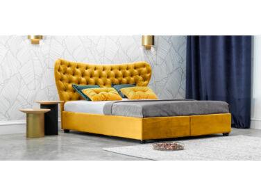 Damasc Chester kárpitozott ágy sárga 140x200