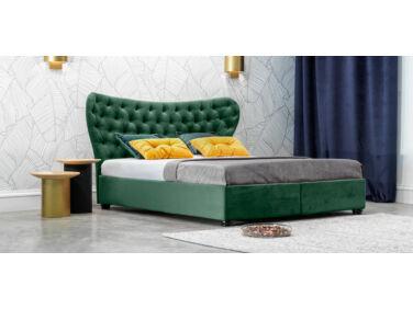 Damasc Chester kárpitozott ágy smaragdzöld 140x200