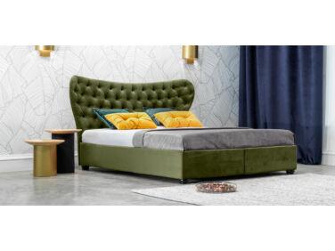 Damasc Chester kárpitozott ágy zöld 160x200