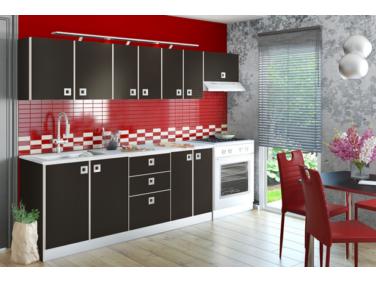 Domino magasfényű konyha összeállítás 260 cm wenge