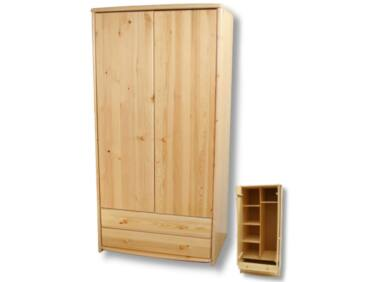 2 ajtós, 2 fiókos, akasztós és polcos fenyő szekrény LZ-45