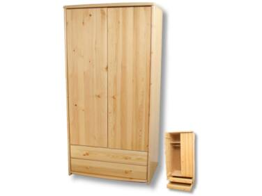 2 ajtós, 2 fiókos, akasztós borovi fenyő szekrény LZ-44