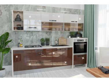 280 cm széles Gazelle 2 konyhabútor összeállítás magasfényű barna és magasfényű kasmír színben