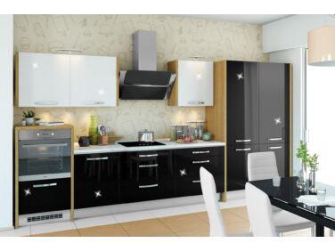 393 cm széles Gazelle 7 konyhabútor összeállítás magasfényű fehér és magasfényű fekete színben