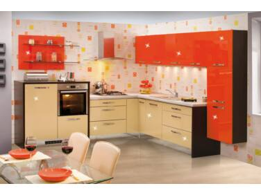 293x297 cm széles Gazelle 7 konyhabútor összeállítás magasfényű krém és magasfényű narancs színben