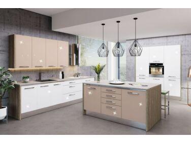 487 cm széles Gazelle 9 konyhabútor összeállítás magasfényű fehér és magasfényű cappuccino színben konyhapult nélkül