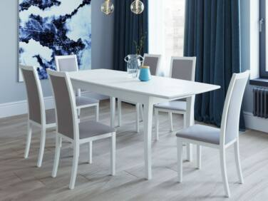 ARCADE 8 személyes nyitható asztal krém színben + 6 db ARCADE szék szürke szövettel és krém kerettel