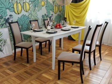 ARCADE 8 személyes nyitható asztal krém színben + 6 db ARCADE szék bézs szövettel és wenge kerettel