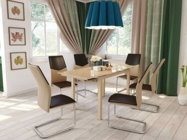ARENA 8 személyes nyitható asztal cappuccino színű üveglappal
