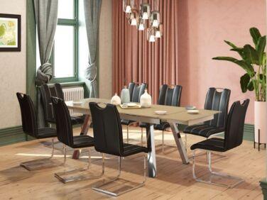 BROOKLYN 10 személyes nyitható asztal cappuccino színű üveglappal