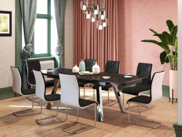 Brooklyn 10 személyes nyitható fekete asztal és 6 db fekete Deco szék összeállítás