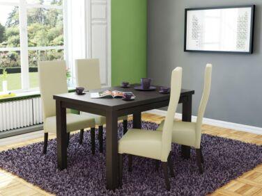 MIRACCO 8 személyes nyitható asztal és 4db ERGO krém szék összeállítás
