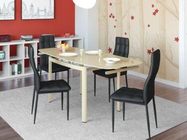 STAR cappuccino asztal + 4 fekete STAR szék összeállítás