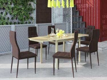 STAR 8 személyes nyitható asztal cappuccino színű üveglappal