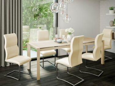 NEW YORK 10 személyes cappuccino asztal + 6 db krém ULYSSE szék