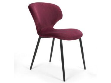 Nord burgundi szék, fekete fém lábbal