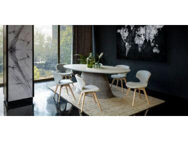 Oslo étkezőasztal milk páccal és szurke lábbal 200x115, 6 db szürke Nord székkel