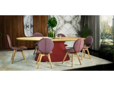 Oslo étkezőasztal tölgy páccal és piros lábbal 200x115