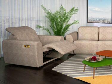 Rio nagy karfás elektromos relax fotel bézs színben