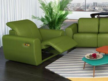 Rio nagy karfás elektromos relax fotel zöld színben