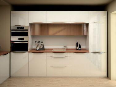 320 cm széles Andra konyhabútor összeállítás magasfényű krém színben
