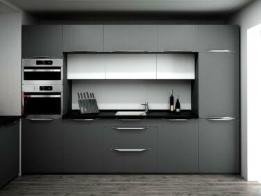 320 cm széles Andra konyhabútor összeállítás szupermatt szürke színben.
