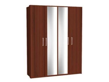 Zeppelin 4 ajtós szekrény csokoládé színben, tükörajtóval