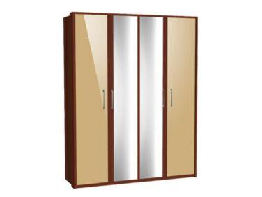 Zeppelin 4 ajtós szekrény színes fronttal, tükörajtóval