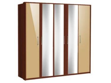 Zeppelin 5 ajtós szekrény 2 cappuccino és 3 tükörajtóval