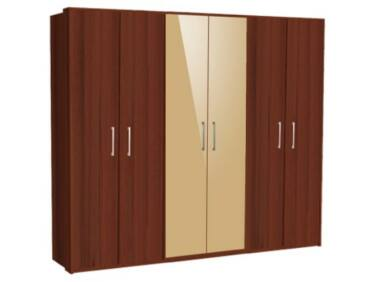 Zeppelin 6 ajtós szekrény 2 színes ajtóval
