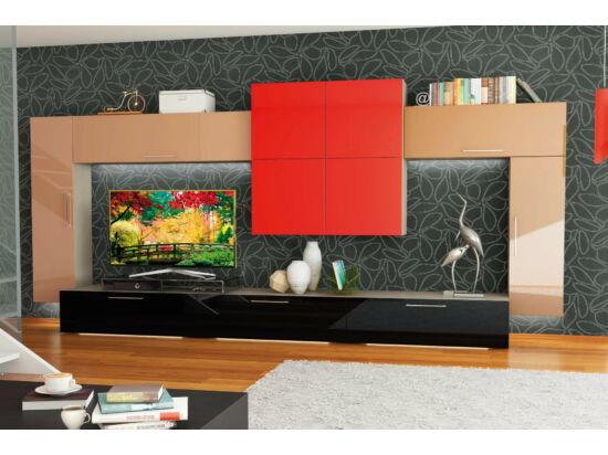 BOX nappali összeállítás L400 matt piros/cappuccino
