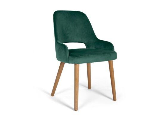 Clark sötétzöld szék, natúr tölgy lábakkal