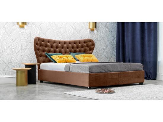 Damasc Chester ágyneműtartós ágy barna 140x200