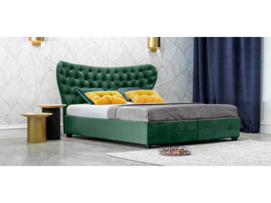 Damasc Chester ágyneműtartós ágy smaragdzöld 160x200