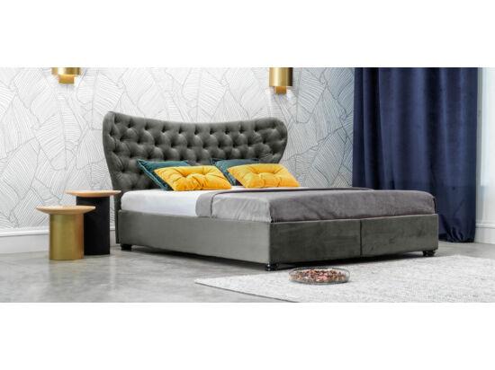 Damasc Chester ágyneműtartós ágy szürke 160x200