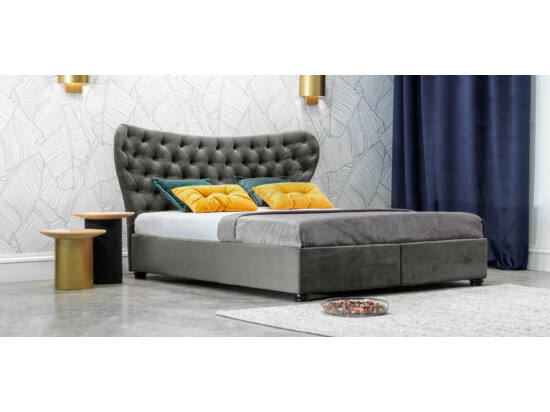 Damasc Chester ágyneműtartós ágy szürke 140x200
