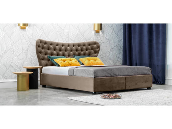 Damasc Chester ágyneműtartós ágy szürkésbarna 180x200