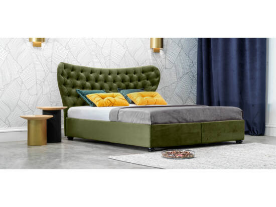 Damasc Chester ágyneműtartós ágy zöld 160x200