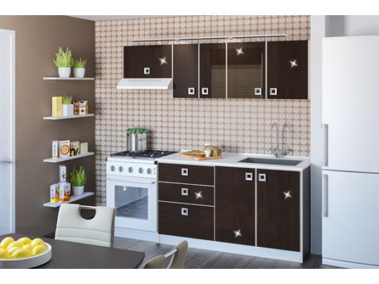 Domino magasfényű konyha összeállítás 2m wenge