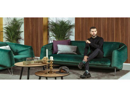 Flow kétszemélyes kanapé zöld bársony