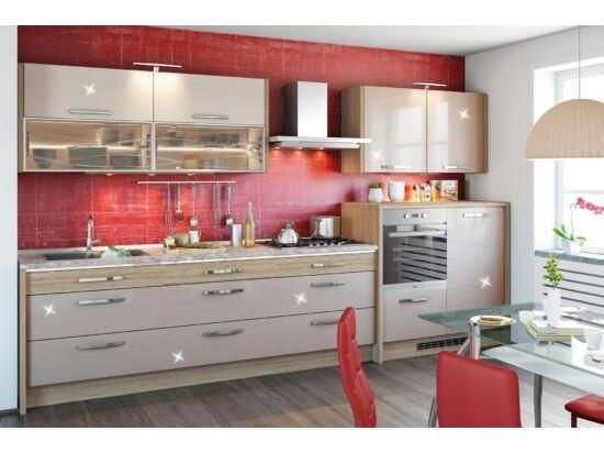 370 cm széles Gazelle 6 konyhabútor összeállítás urbano és magasfényű cappuccino színben