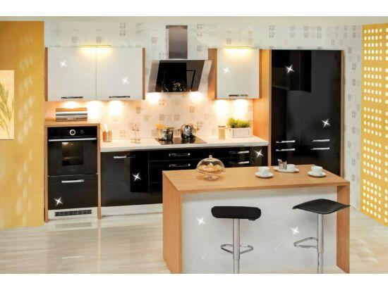 393 cm széles Gazelle 11 konyhabútor összeállítás magasfényű fekete és magasfényű fehér színben, konyhasziget nélkül